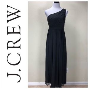 J. Crew Black 100% Silk One Shoulder Formal Dress